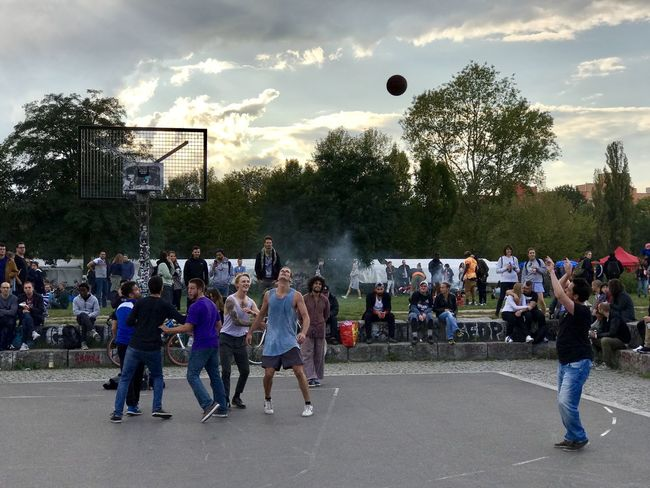 Basketball Adult Ball Cloud - Sky Crowd Day Large Group Of People Leisure Activity Men Outdoors People Playing Real People Sky Sport Stadium Street Togetherness Tree Watching Pitch Game Check This Out EyeEm Best Shots MISSIONS: Connected By Travel