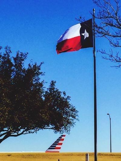 Texasflag American Flag Americanairlines Plane Redwhiteandblue Sky