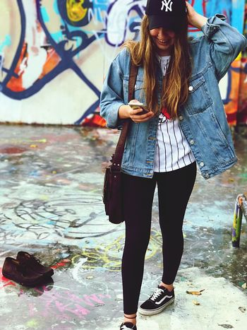 One Person Young Adult Full Length Casual Clothing Real People Young Women Standing Portrait Lifestyles Smiling Outdoors Youth Culture Day City Adult People Adults Only