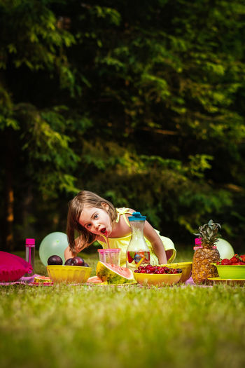 Picnic Girl Child Childhood Kid Forest Summer Grass Food And Drink Leisure Activity Day Food Women Lifestyles People Selective Focus Nature Girls Females Toy Real People Plant Easter Innocence Outdoors