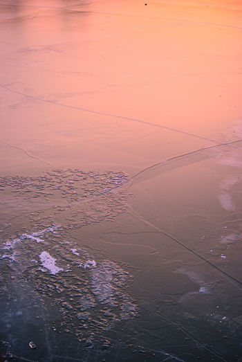 Abstract Nature Frozen Lake Ice Sky Reflection Tranquility Frozen River Nature Backgrounds Sunset Sunset Colors Warm Colors Winter Sunset