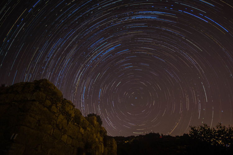 Astronomy Beauty In Nature Concentric Constellation Galaxy Illuminated Landscape Long Exposure Low Angle View Milky Way Nature Night No People Outdoors Sataf Scenics Sky Space Space And Astronomy Star - Space Star Field Star Trail Tranquil Scene Tranquility