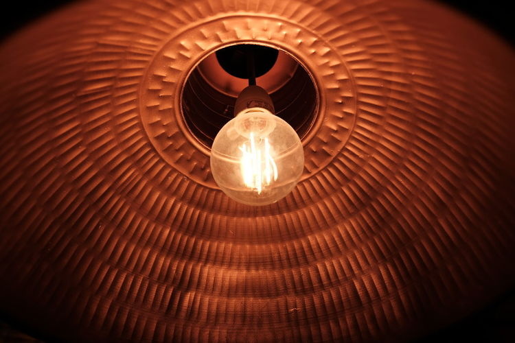 Close-up Copper  Copper Lamp Electricity  Glowing Light Bulb Lighting Equipment