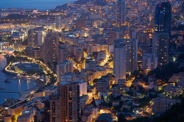 Montecarlo, illuminated city view in the evening, Monaco, Cote d'Azur Aerial Blue Building City Coast Detail Dusk Europe Evening French Illuminated Luxury Mediterranean  Modern Monaco Monte Carlo Night Panorama Rivier Sea Skyscraper Twilight View View From Above First Eyeem Photo