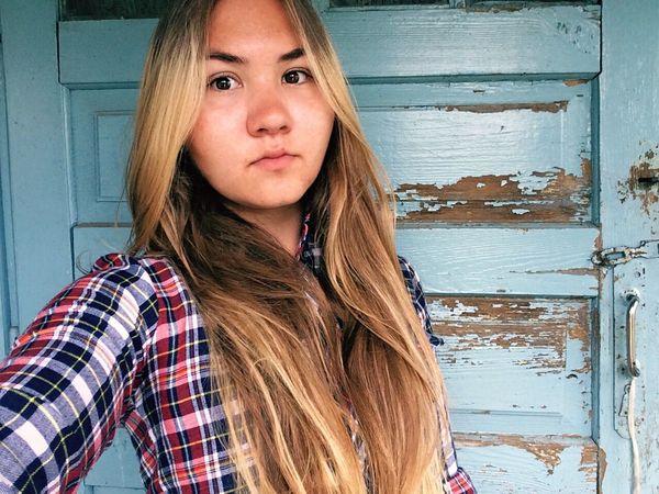 Summer Girl Model Nomakeup Eyes Russian Girl Longhair Belarus
