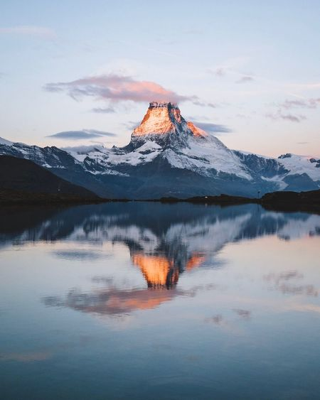 EyeEmNewHere EyeEm Selects Reflection Water Sky Beauty In Nature Mountain Tranquility Scenics - Nature Tranquil Scene Cloud - Sky Lake Nature Idyllic Sunset Waterfront No People Winter Snowcapped Mountain