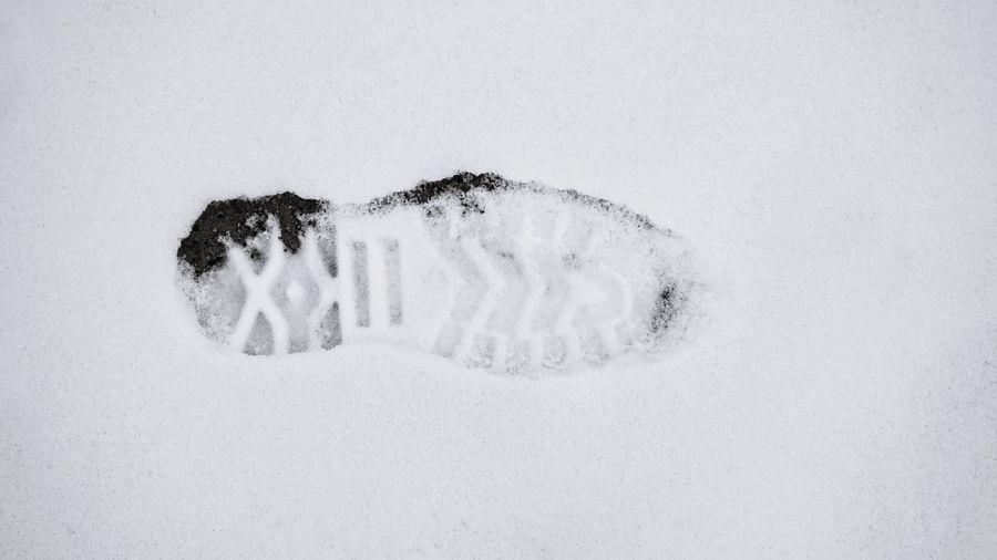 Cold Temperature Shoesprint Snow White Background White Color