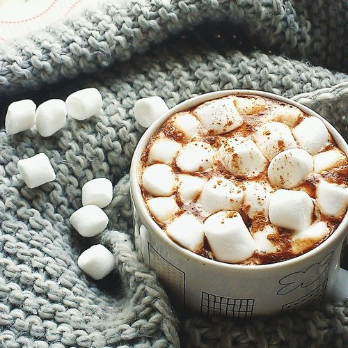 High angle view of marshmallows in coffee cup by sweater
