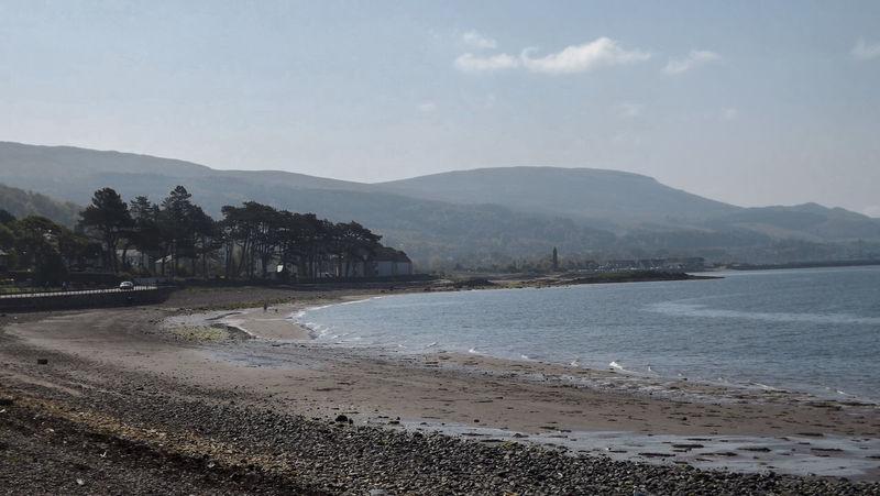 Beach Blue Sea Coast Day Landscape Largs Mountain Nature No People Outdoors Pebble Sand Sand Dune Scotland Shore Sky Tree Water