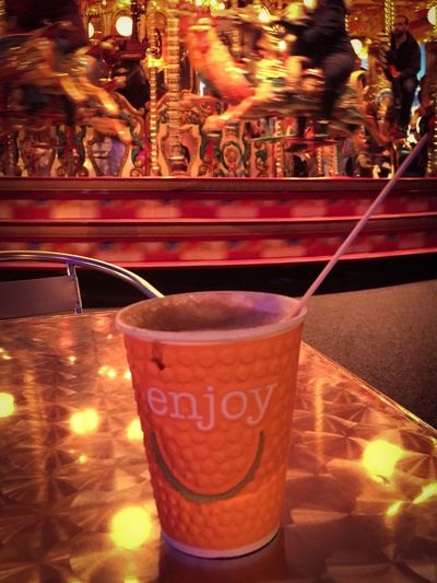 Fun Fair Food And Drink Refreshment Still Life Non-alcoholic Beverage Illuminated Fairground Takeaway Cup Carousel Ride Coffee To Go Relaxation Enjoy Life