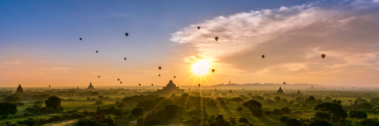 Bagan Breathtaking Cultures Flock Of Baloons Hot Air Baloons Myanmar Pagoda Park Play Of Light Serenity Sunrise
