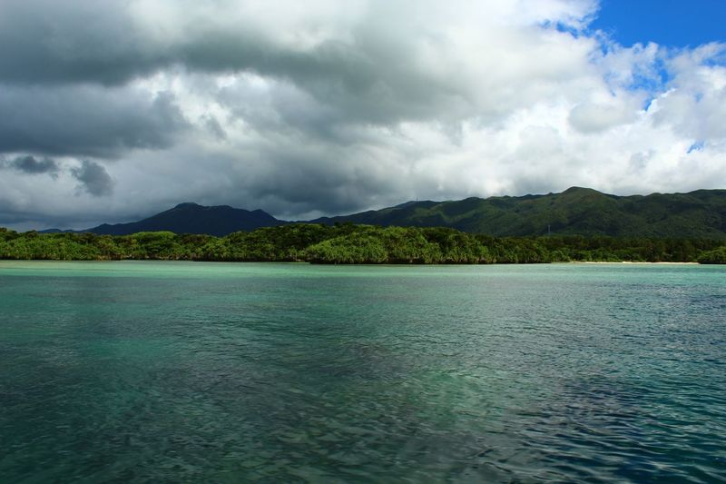Clear blue seas, along with lush green mountainous terrain. Okinawa, Japan 🇯🇵 August 2019 Japan Cloud - Sky Water Sky Scenics - Nature Beauty In Nature Tranquility Tranquil Scene Mountain Nature No People Day Waterfront Tree Non-urban Scene Sea Outdoors