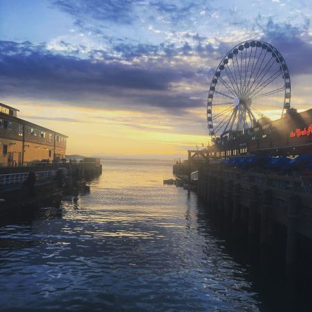 Ferris Wheel Sunset Water Pier Waterfront Seattle Beauty In Nature Nature Photography New On Eyeem Battle Of The Cities