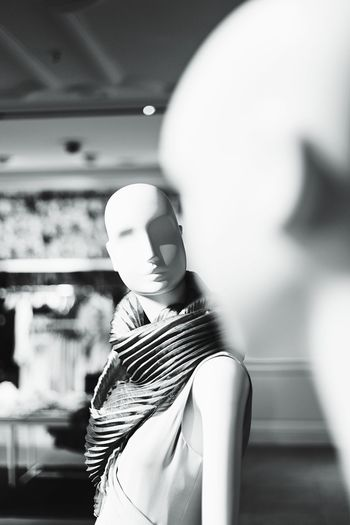 Close-up of mannequins in store