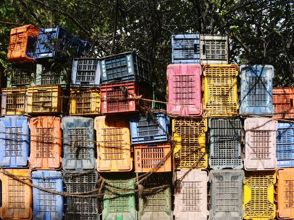 Stacked and tied up Crates Colours Streetphotography Stackedup Large Group Of Objects Arrangement Fresh On Eyeem
