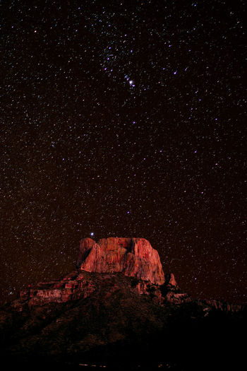 Starry night sky over Casa Grande Peak of Chisos Mountain Range, Big Bend National Park, Texas, USA Night Sky Star - Space Nature No People Rock Scenics - Nature Space Astronomy Outdoors Tranquility Rock Formation Tranquil Scene Mountain Casa Grande Peak Big Bend National Park Texas Chisos Mountains Chihuahuan Desert Peak Night Sky Landscape Rugged Wilderness Desert