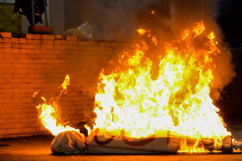 Burning fire on wood
