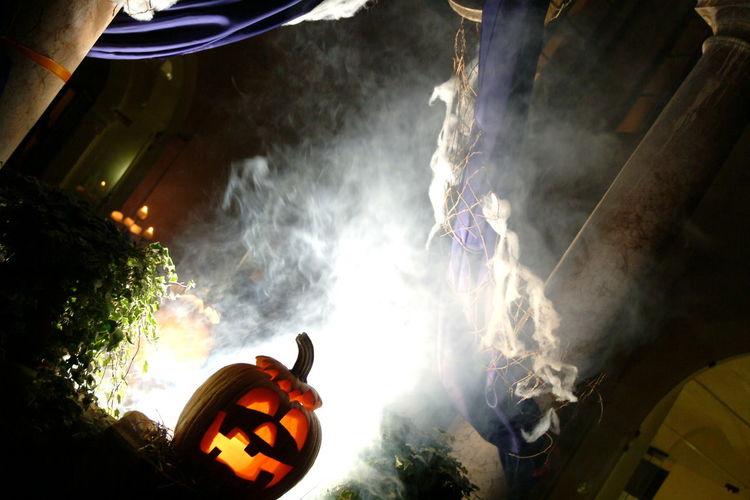 Halloween Celebration Halloween Holiday - Event Illuminated Indoors  Jack O Lantern Low Angle View Men Night People Pumpkin Sky
