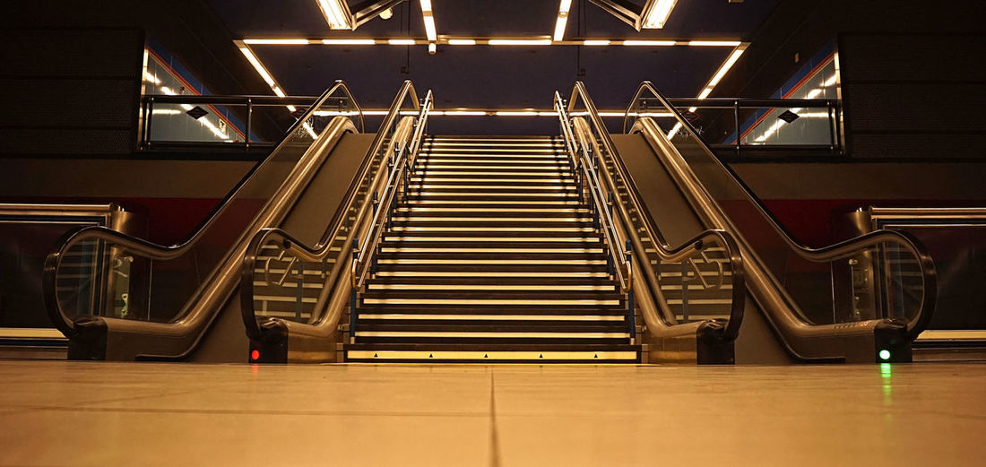 Staircase Indoors  Illuminated No People Empty Transportation Low Angle View Connection Steps And Staircases Technology Simetry Metro Madrid, Spain