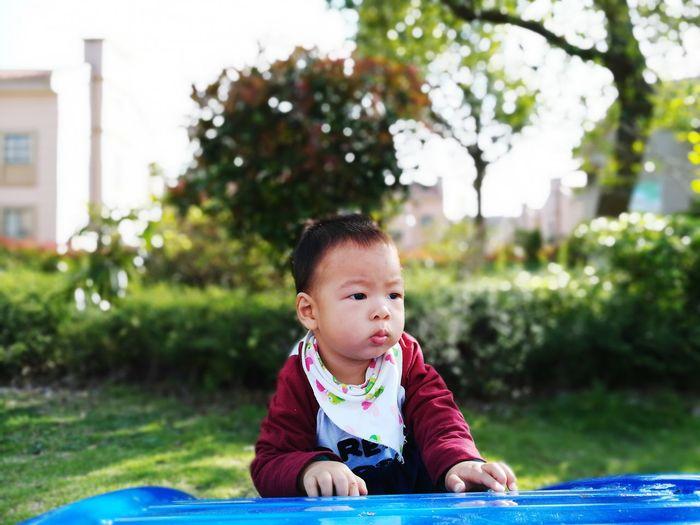 Cute boy playing in lawn
