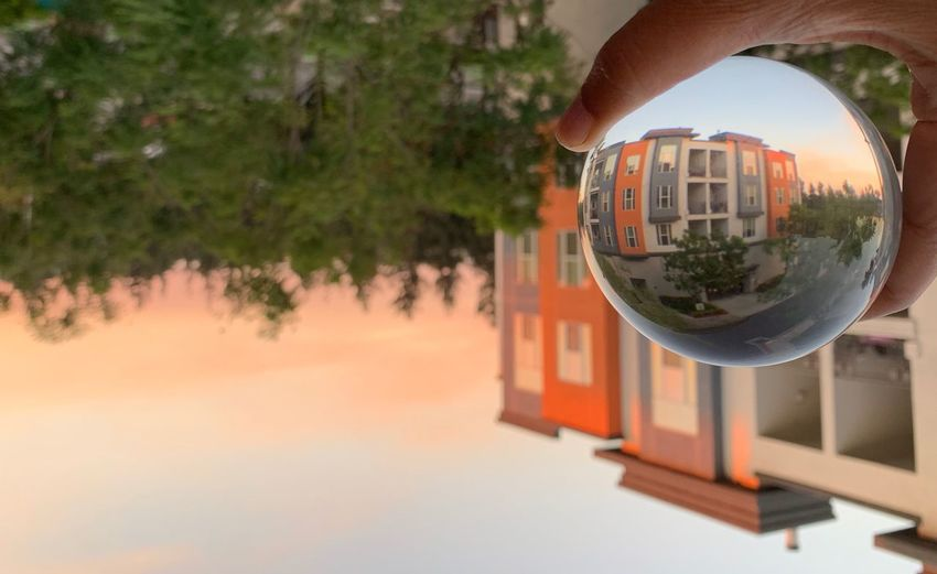 """""""There's never one sunrise the same or one sunset the same."""" ~ Carlos Santana🌝🌞🌝🌞 Lensball Fremont Sphere Sunset Orange Color"""