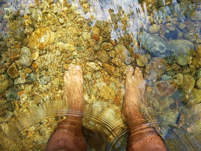 freshness Waterfall River Riverside Water Human Feet Feet Personal Perspective