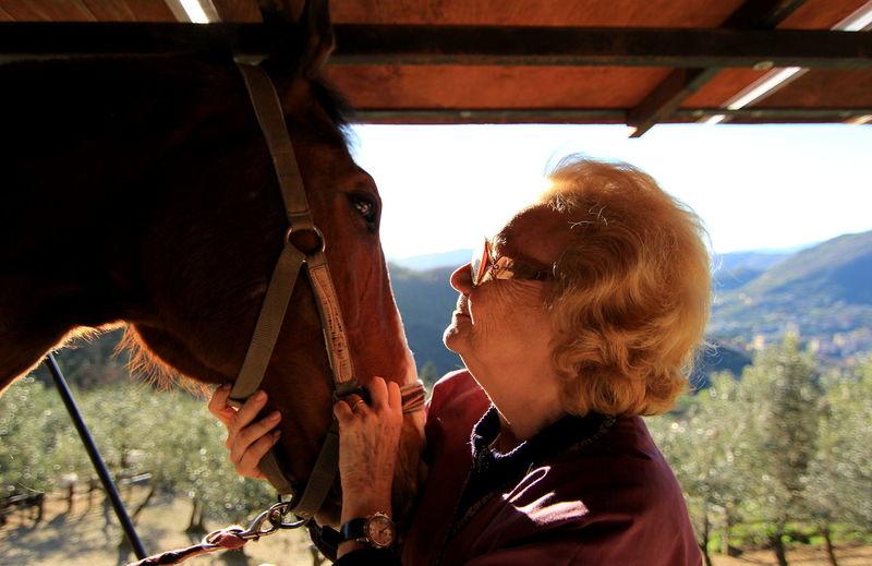 Animal Lover Animal Lovers Animal Themes Domestic Animals Eyes Eyes Are Soul Reflection Feelings Horse Horse Life Horse Love Horse Photography  Kiss Love Nature Old Woman Old Woman Portrait One Animal One Person Portrait Portrait Of A Woman Portrait Photography Real People