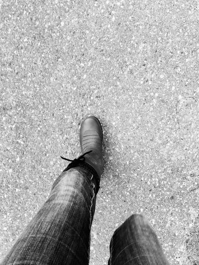 Moving Eyemcaptured Eyem Gallery Eyemphotography Path Outdoor Photography Rainboots Eye4photography  Blackandwhite Mobilephotography Concrete Outside Takeawalk  Walking Moving Human Leg Low Section Shoe One Person Standing Real People Day Human Body Part People Close-up Outdoors