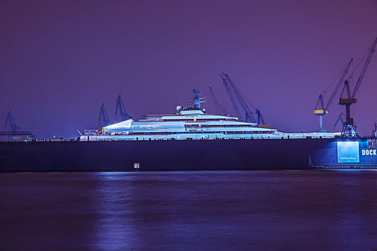 Water Transportation Ship No People Night Illuminated Harbor Sky Architecture Mode Of Transportation Waterfront Travel Yacht Cruise Hamburg Harbour