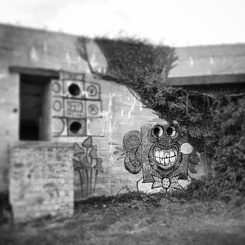 Funky Monk Graff Bretagne Bretain Bunker blochaus atlantic sea france black white followme