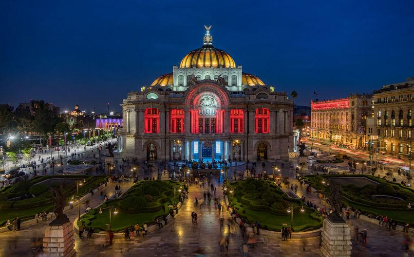 High angle view of illuminated palacio de bellas artes at night