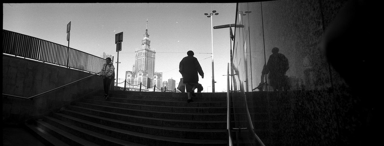 HORIZONT Panoramic The Art Of Street Photography Horizont Panoramic Film Photography Analogue Photography Street Photography The Week on EyeEm Capture The Moment Bnw Black And White Monochrome Panoramic Film Rollei Wide Staircase Architecture Steps And Staircases Men Built Structure One Person Walking Real People Full Length Building Exterior Rear View Railing Transfer Print Nature Auto Post Production Filter Silhouette Adult Lifestyles City Outdoors