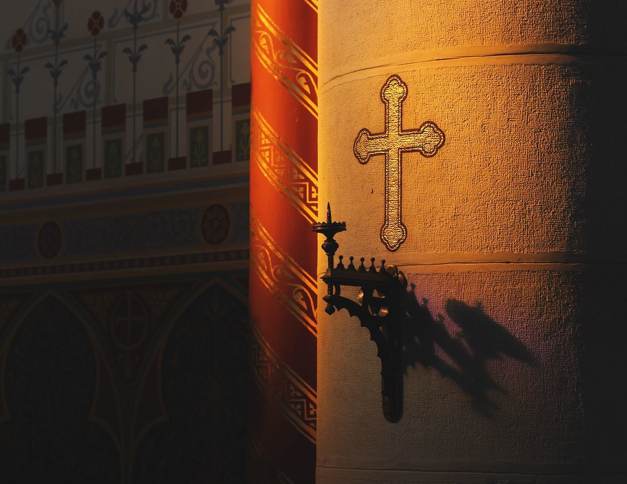 Cross On Column In Cathedral