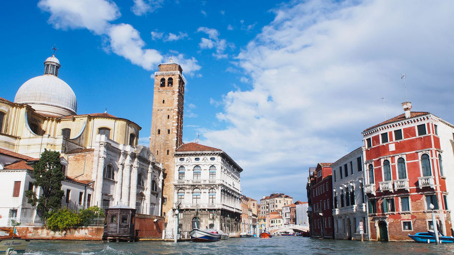 View of Venice city from Grand Canal Cityscape Grand Canal Venice Travel Travel Photography Architecture Blue Blue Sky Building Exterior Built Structure City Cloud - Sky Clouds And Sky Day Dome History No People Outdoors Place Of Worship Religion River Scenics Sky Travel Destinations