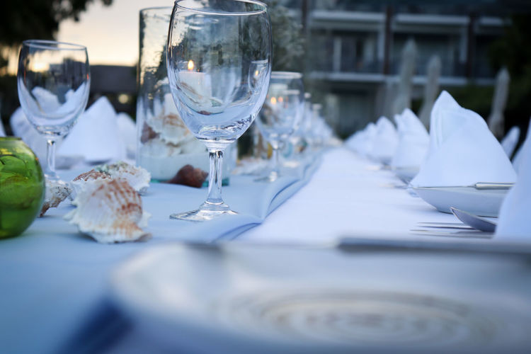 Close-up of place setting on table at outdoor restaurant
