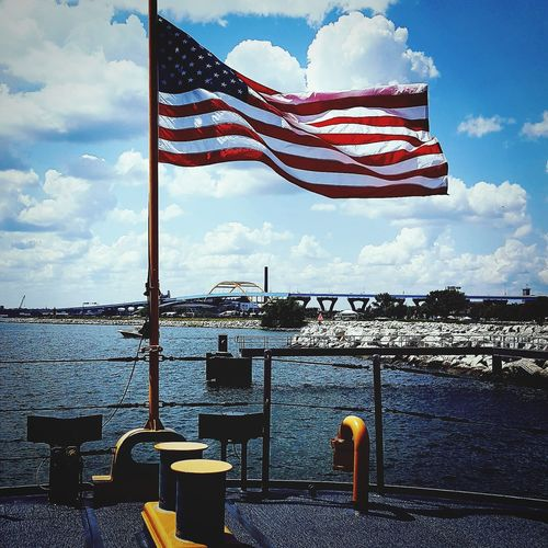 Coast Guard Escanaba Lake Michigan On A Boat! Sea Water Patriotism Blue Flag Cultures Sky Cloud - Sky Stars And Stripes Flag Pole Fluttering American Flag National Icon Ship Nautical Vessel Harbor