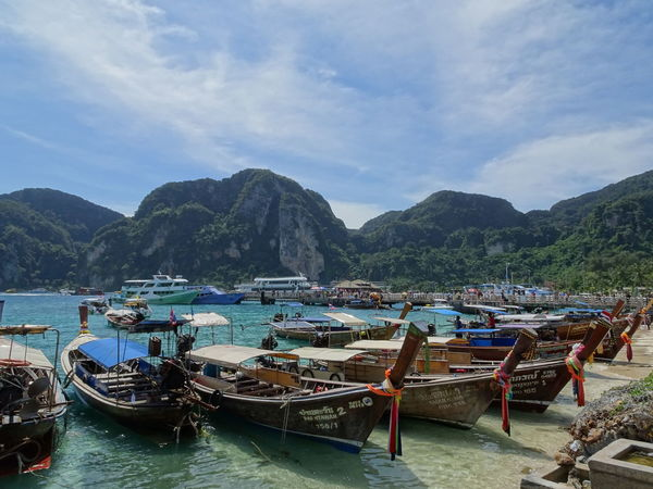Water Nautical Vessel Sea Moored Beach Transportation Mode Of Transport Scenics Mountain Nature Tranquility Beauty In Nature Sky Beauty In Nature Relaxing Multi Colored Little Town Island Pier Travel Destinations Beachphotography Travelphotography Tourquise Sea Thailand ASIA