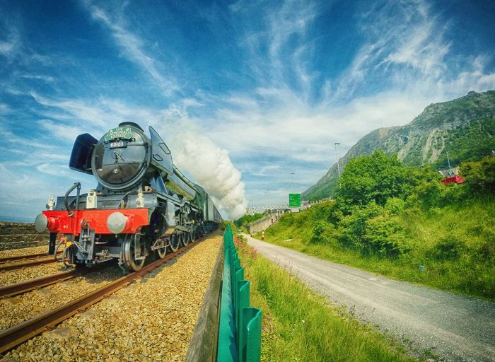 The Flying Scotsman Train Travel Landscape Photography Sky Clouds North Wales Mountain View Mountains Sun Summer Gopro Green Blue Flyingscotsman Steam Locomotive People Picoftheday Photooftheday Road Trees Nature Adventure Colour Of Life