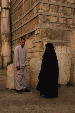 Man and Woman Damascus  Middle East Syria  Abaya Hijab Man And Woman Middle Eastern Woman Modesty  Place Of Worship Traditional Clothing Women Around The World