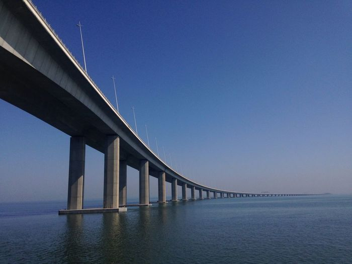 Low angle view of vasco da gama bridge over tagus river