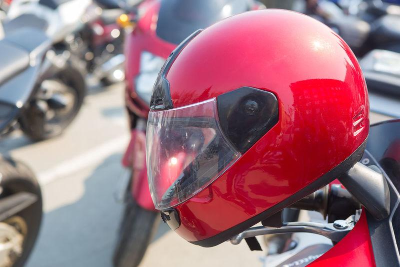 Close-up of helmet on motorcycle