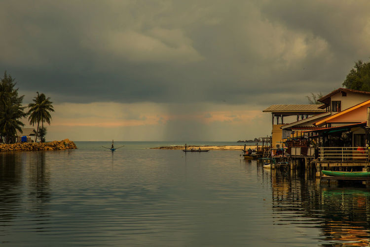 Beauty In Nature Boat Calm Cloud Cloud - Sky Cloudy Dramatic Sky Nature No People Outdoors Scenics Sea Sky Strom Thailand Water Waterfront Weather
