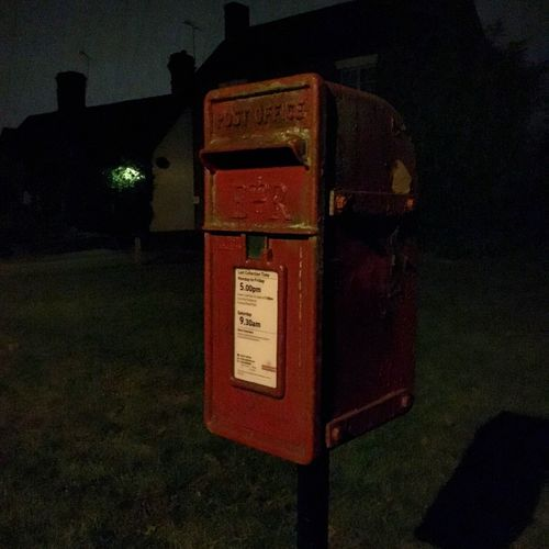Post box in the heart of England Night Postal Service Communication Post Box  Communication Text Night Western Script Red No People Telephone Box Illuminated Outdoors HUAWEI Photo Award: After Dark