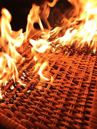 Flames Burning Basket On Fire Burning Fire Heat - Temperature Flame Fire - Natural Phenomenon Glowing Night Blurred Motion No People Firewood Wood - Material Close-up Nature Motion