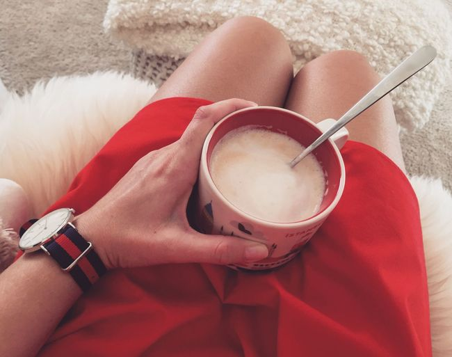 Ladyinred Redcolour Reddress Red Redmood Morningcoffee Cupofcoffee Good Morning Coffee Cup Holding Coffee - Drink Relax Relaxing Moments Relaxing Time High Angle View Refreshment Redcomposition