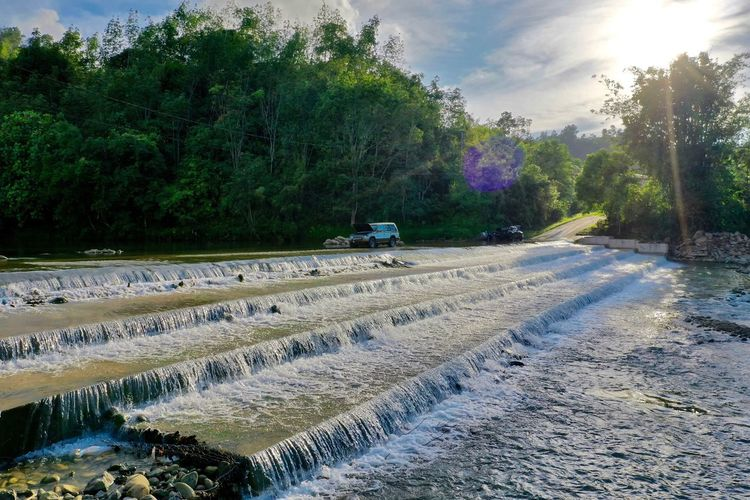 Water steps. North Borneo Fresh Water Moyog River Babagon Borneo Sabah Downstream Rapids Bridge Penampang River Tree Plant Nature Sky Sunlight Day Growth Water Road