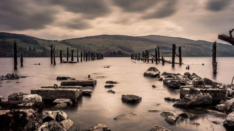 Cloud - Sky Sky Water Scenics - Nature Mountain Tranquility Nature Outdoors No People Wooden Post Dalerb Loch Tay Kenmore Scotland Landscape Long Exposure Eyeem Scotland