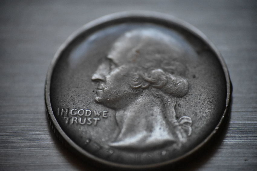 in God we trust Coin Waterdrops Water Tension George Washington Currency Coin Studio Shot Savings Finance Wealth Currency Text Close-up