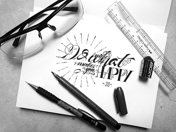 """Do more of what makes you HAPPY"" Pen Good INDONESIA WOW Blackandwhite Photography Art Blackandwhite Calligraphy Type Islam Creation Calligraffiti Quotes ArtWork Creative Typography Perspective Design Words Art, Drawing, Creativity Random Painting Colors Word Shirt"