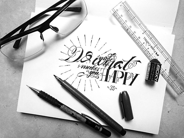 """""""Do more of what makes you HAPPY"""" Pen Good INDONESIA WOW Blackandwhite Photography Art Blackandwhite Calligraphy Type Islam Creation Calligraffiti Quotes ArtWork Creative Typography Perspective Design Words Art, Drawing, Creativity Random Painting Colors Word Shirt"""